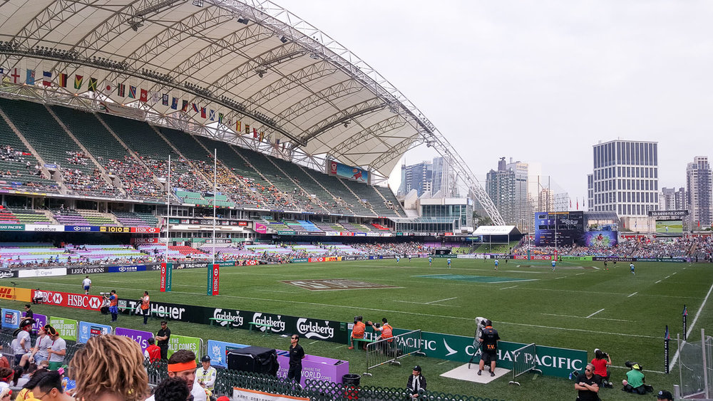 The stadium view at the Rugby Sevens