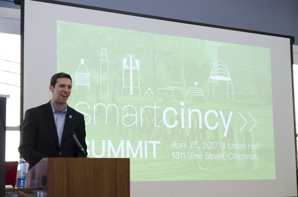 Council member PG Sittenfeld gives a welcome address during the Smart Cincy Summit at Union Hall on April 25th, 2017. The Smart Cincy Summit launched Regional Smart Cities Initiatives in and around Cincinnati, OH and acted as the first RSCI leadership event, and the largest smart cities event in the Midwest to-date.