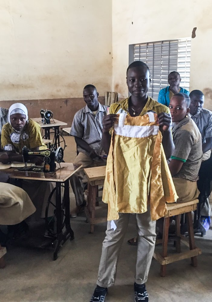 Teaching Burkina Faso students sewing and business fundamentals