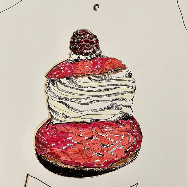Mon petit chou#illustration #dessin#colors #red#femininsacre #women#dessert#gourmandise #dessert#framboise#cremepatissiere #fooddrawing #foodporn #nmerzoug