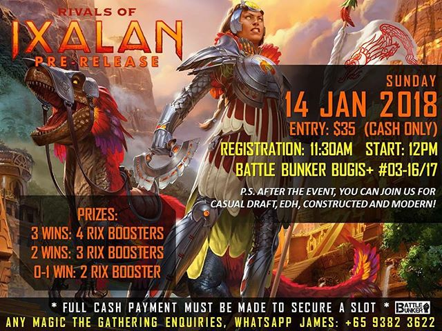 Join us in this upcoming Rivals of Ixalan Prerelease event at our Bugis+ outlet where after the event, we will be having drafts, EDH, Standard and Modern casual so do drop by and take part!  Also, we will be holding Friday Night Magic every Friday at both outlets so do come and join in the fun!  #rivalsofixalan #mtg #magicthegathering