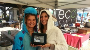 Christina Sanini and Kathryn Rogers dressed up to present their Vegan Ewe Monster Chili at the Wild Willow Farm 5K and Chili Brew Fest
