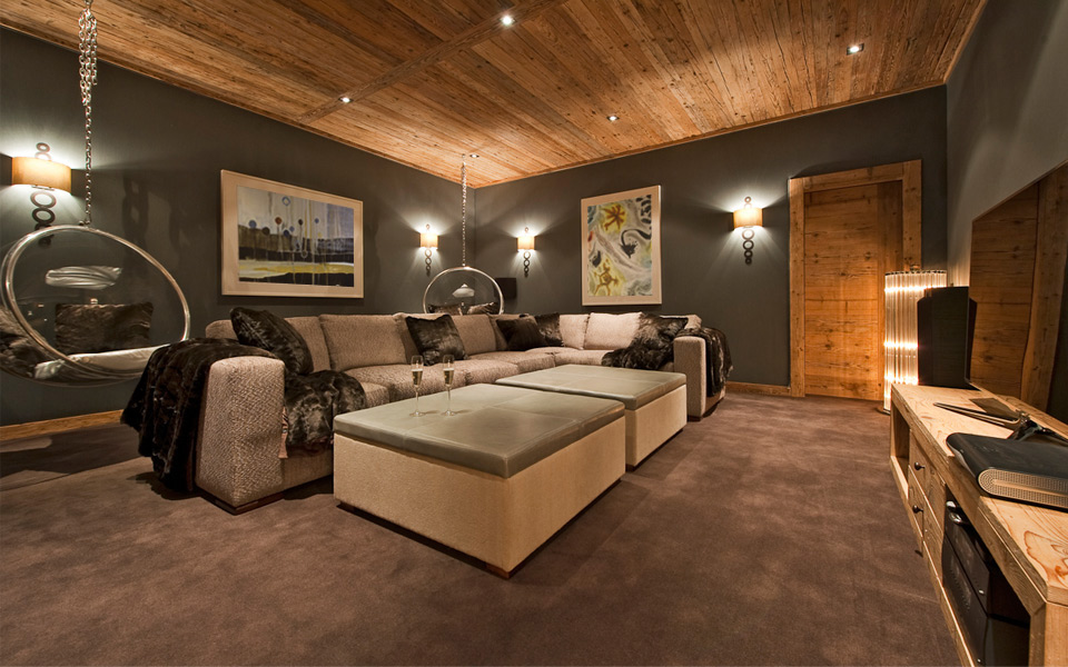 Interior Design of Cinema Room at Ultra Luxury Swiss Chalet