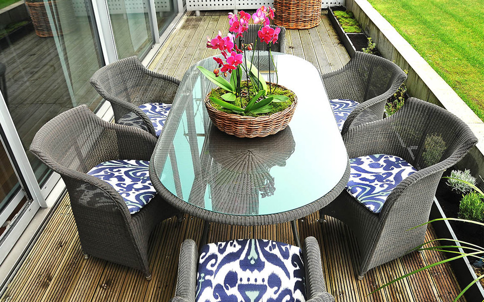 Interior design of outside dining area in Berkshire