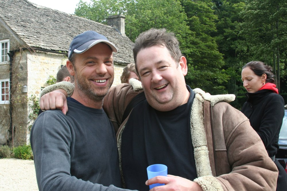 Johnny Vegas and Nathan Hutchings on set of Blood and Nuts.jpg