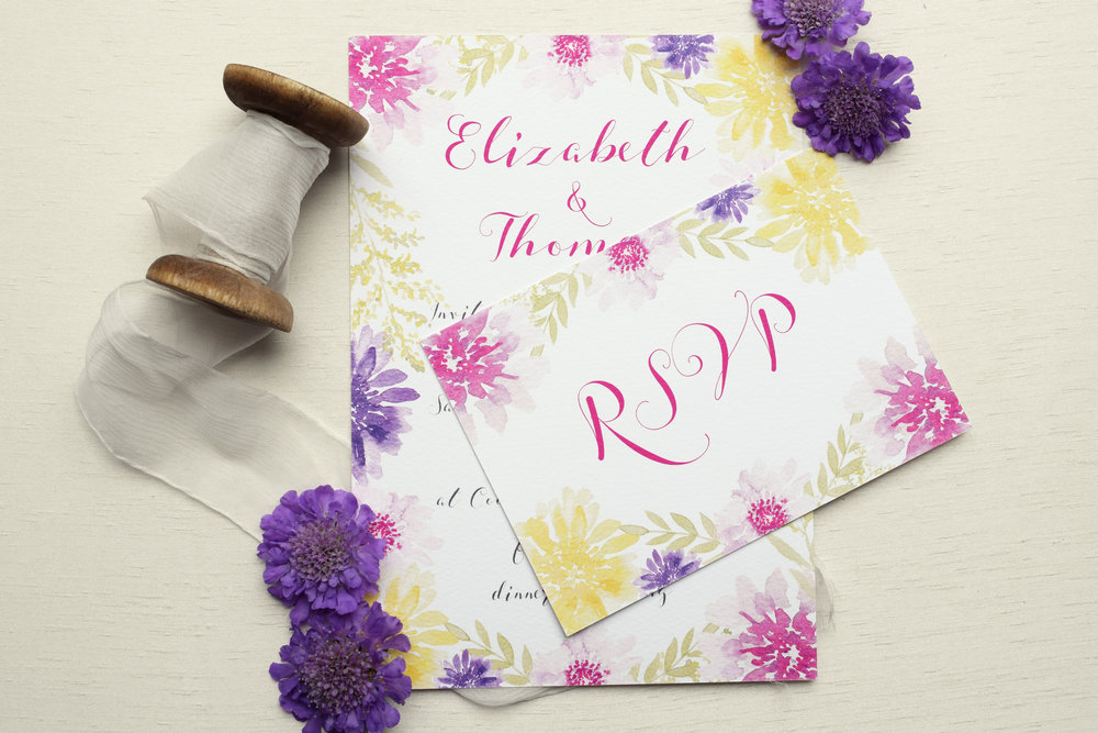 Bloom watercolour floral invitation and rsvp card.jpg