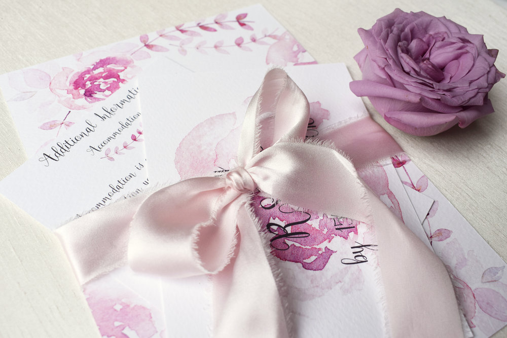 Amour Watercolour Wedding Stationery Suite close up.jpg