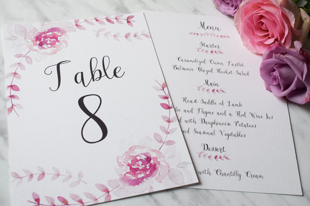 Amour table number and menu.jpg