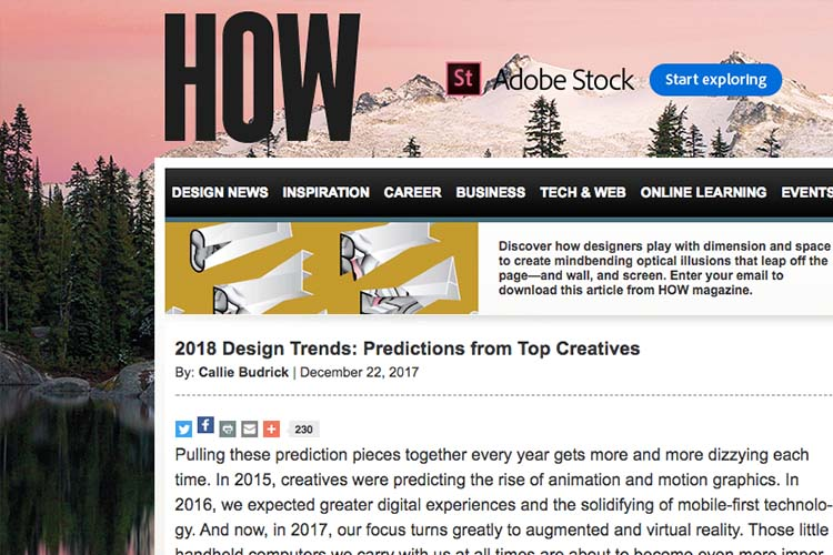 Our Creative Directors spoke with HOWdesign about their predictions for 2018 Design Trends -