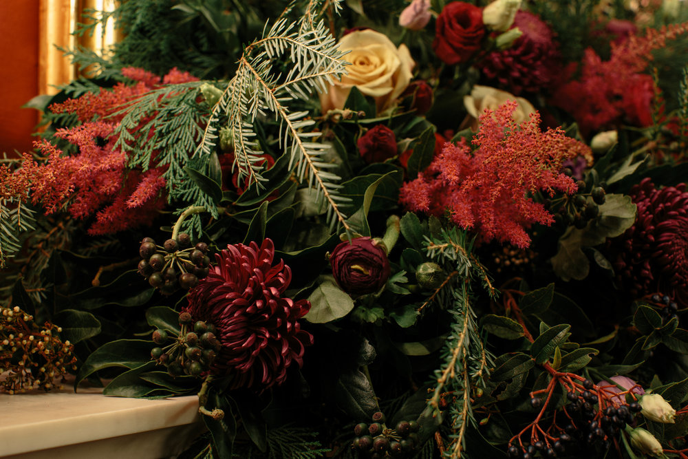 floral garland fireplace London Christmas