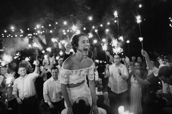 Wedding Day Bride Groom Smile Sparklers