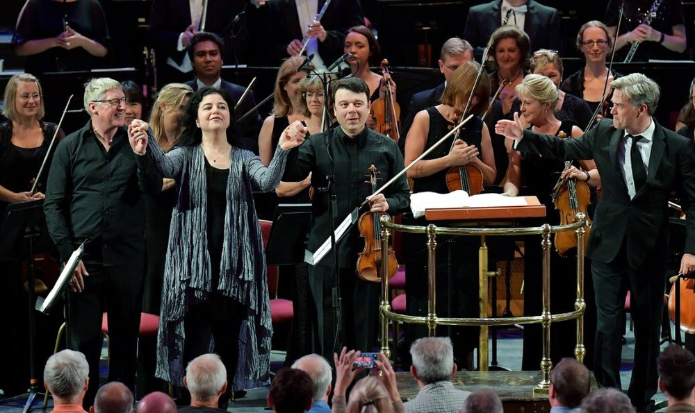 Proms 2016: David with composer Lera Auerbach, Vadim Gluzman and conductor Ed Gardner