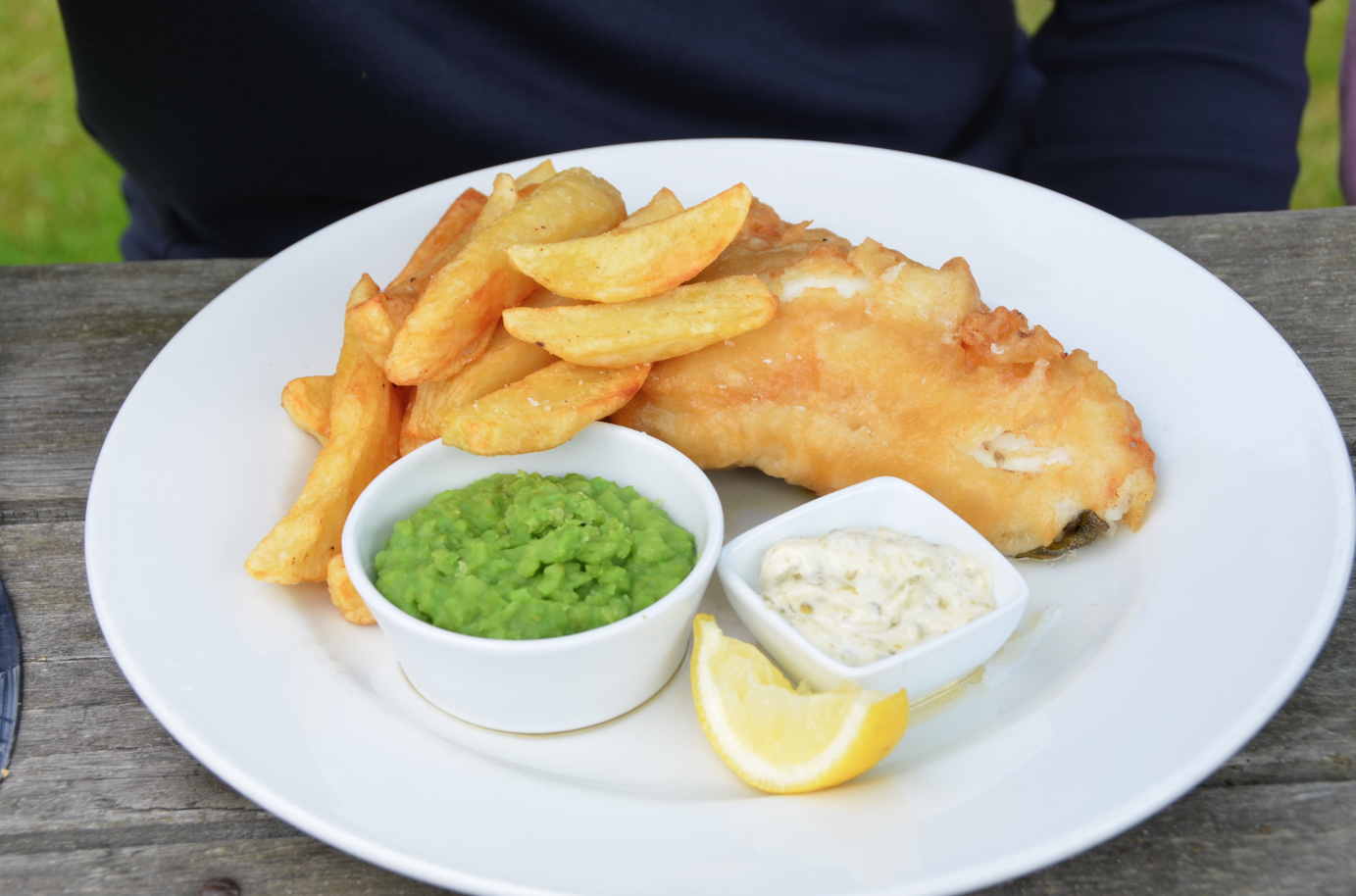 fish, chips, minty peas