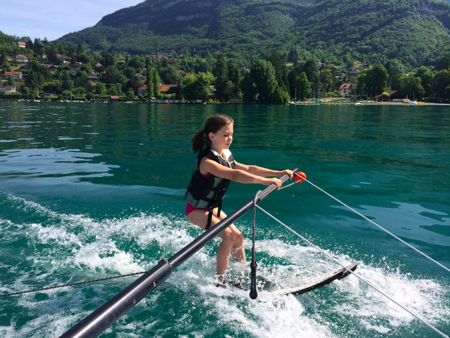 waterskiing, family fun, Lake Annecy France