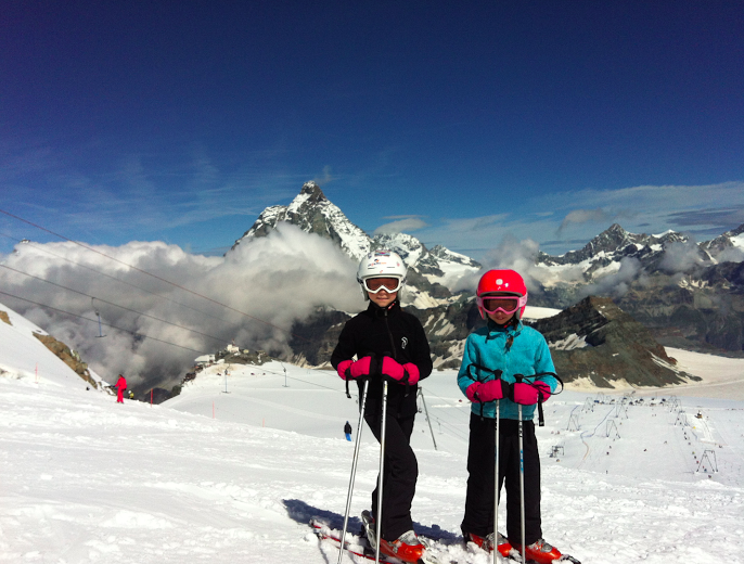 My girls skiing the glacier: Plateau Rosa, Cervinia, Italy