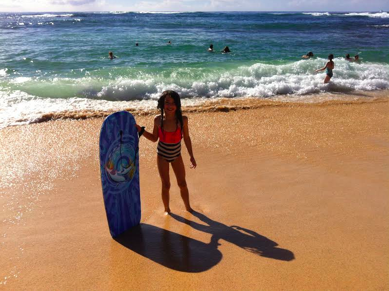 Sasha with her Boogie Board