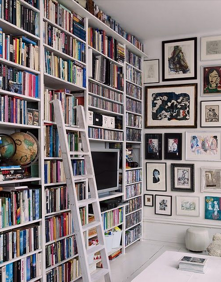 bookcases and art