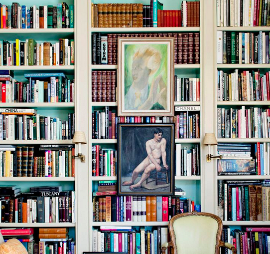 bookcases: books and art