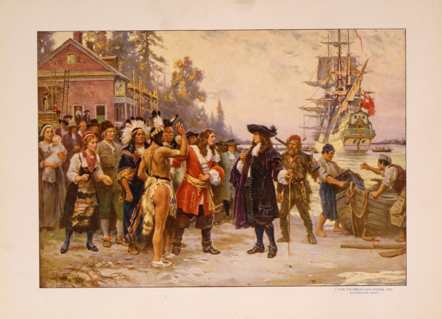 Depicting the events of 1682 (the year Hollingsworth arrived): William Penn, Native American Indians and The Welcome Ship in New Castle, Delaware