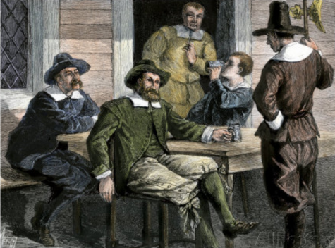 Puritans drinking.
