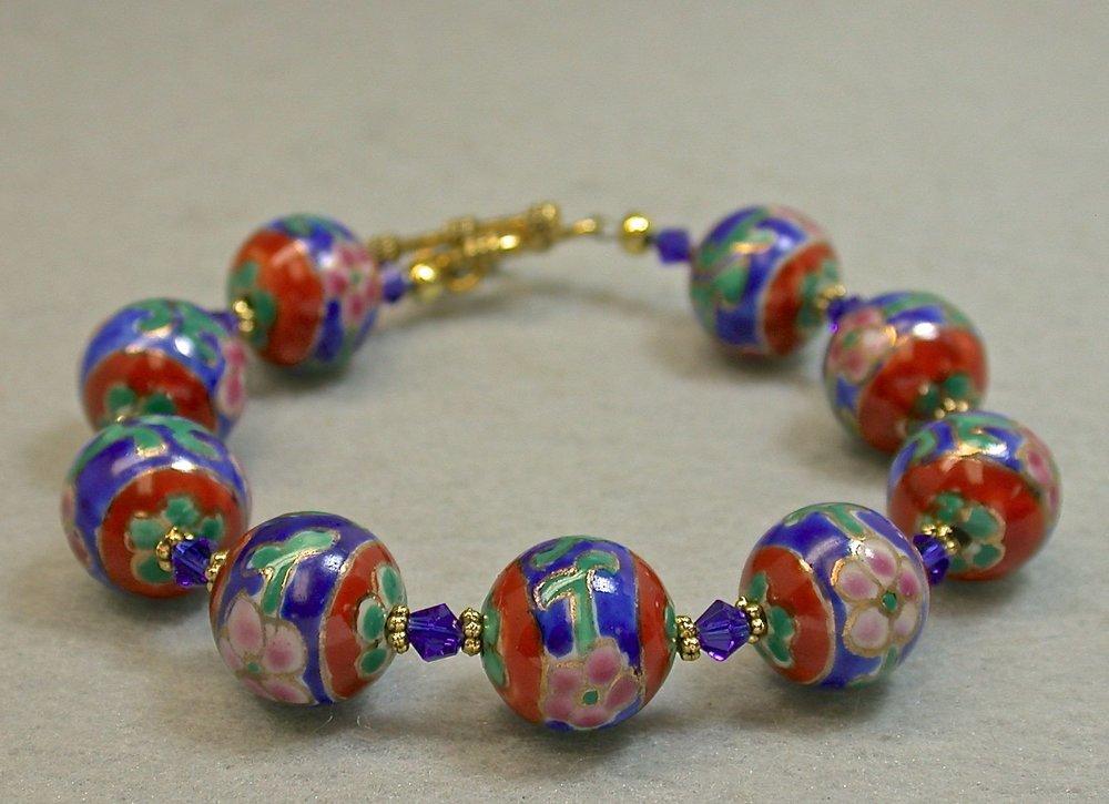 Vintage Chinese Porcelain Bead Bracelet