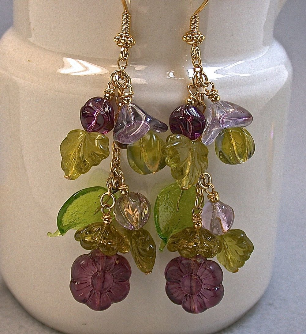 Vintage West German Pressed Glass Bead Earrings