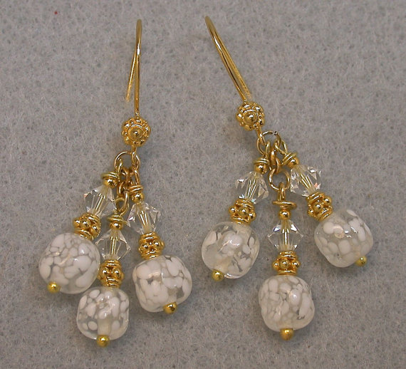 Vintage Japanese Crumb Glass Bead Earrings