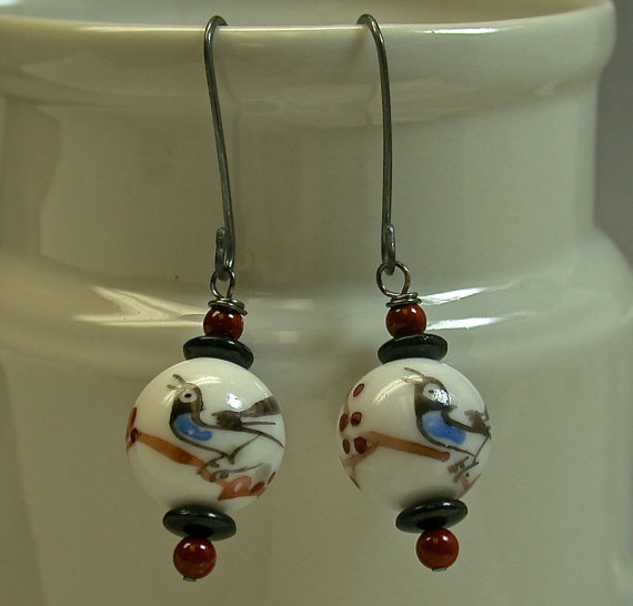 Vintage Chinese Porcelain Bead Earrings