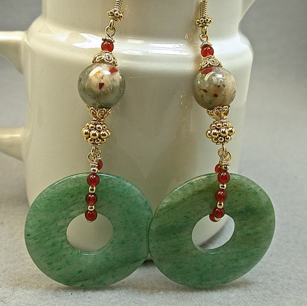 Vintage Aventurine Donut Bead Earrings