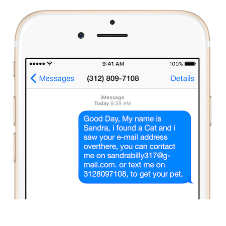 Beware of vague, generic messages from people claiming to have found your pet. The above message came from a real scammer.
