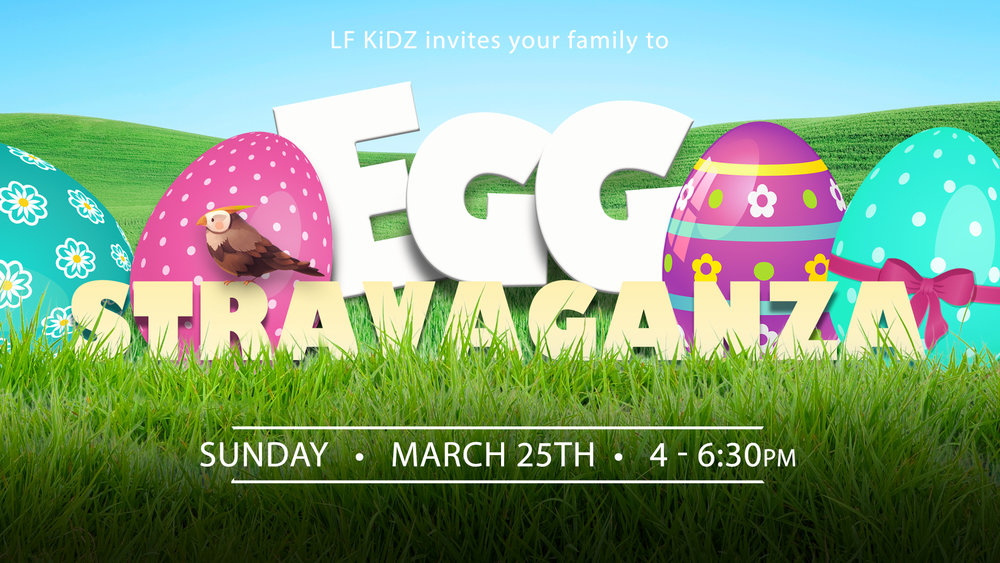 EggStravaganza 2018 - Join us at Little Flock on Sunday, March 25th from 4-6:30pm for EggStravaganza 2018! There will be an egg hunt, train rides, games and more. This event is for 5th grade and under.