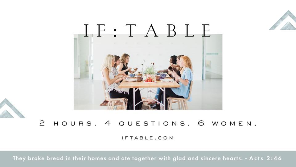 IF:Table - Gather with other women around a table once a month in a space created for you to feel known and provide a environment for conversation about following God and giving Him away.Contact Patty Mann at pattym@littleflock.com for more information.