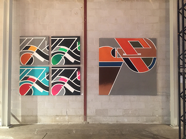 Left:  Memory Garage.  series of 4. 2016-'17. Spraypaint and acrylics on canvas. 100x100cm.  Right:  No title . 2014. Spraypaint on canvas. 200x200cm.