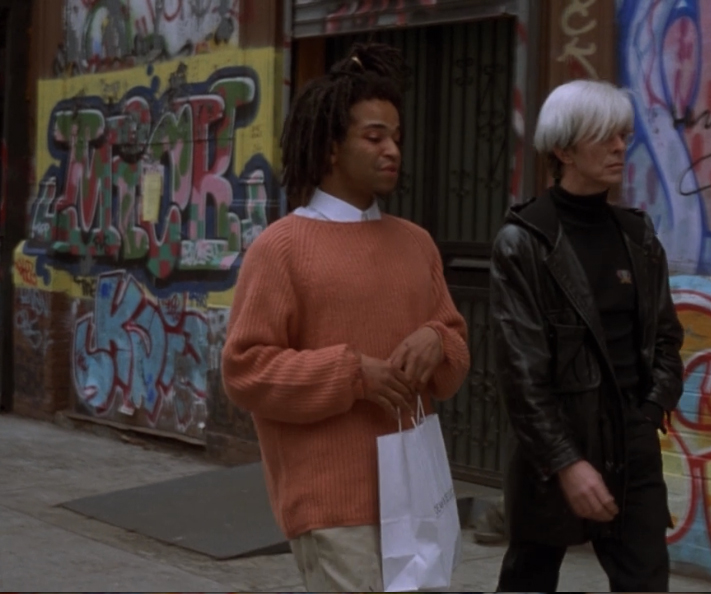 'Basquiat' the movie. 1998.  Crosby St. SOHO NYC 1994.  'They pay capitals for everything that says Samo'