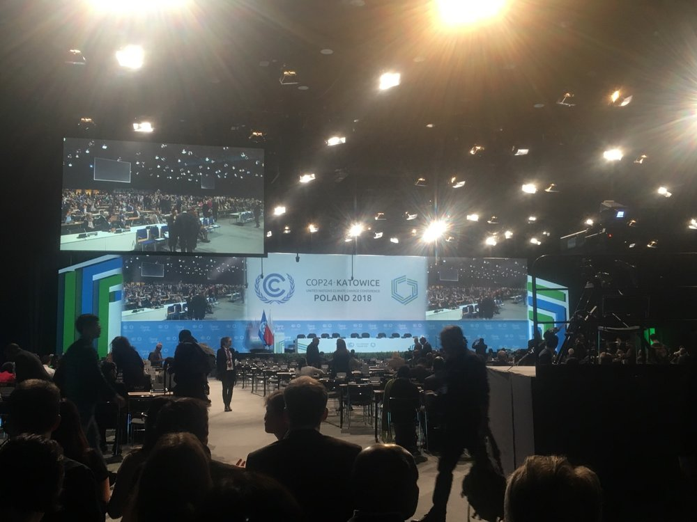 The overflow room televising the opening ceremony of COP24.