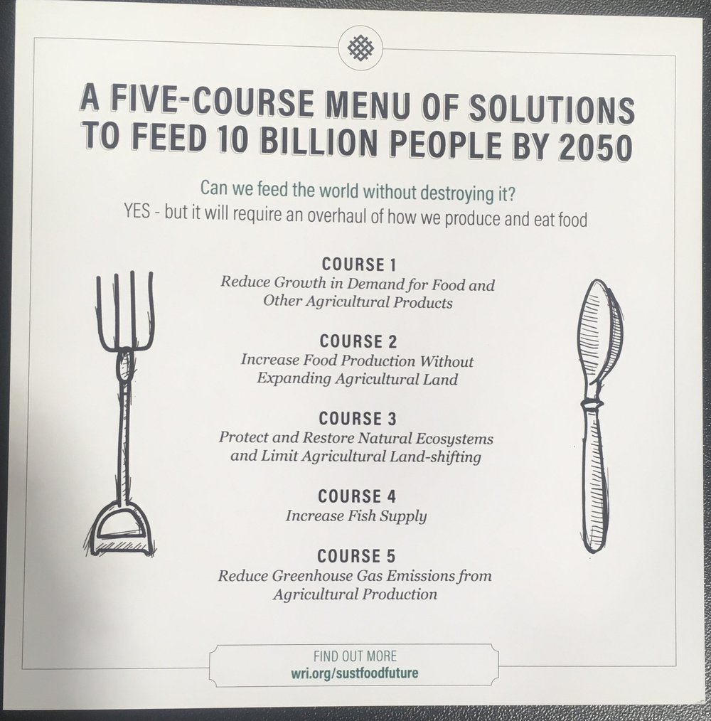 World Resource Institute's menu for a sustainable food future.