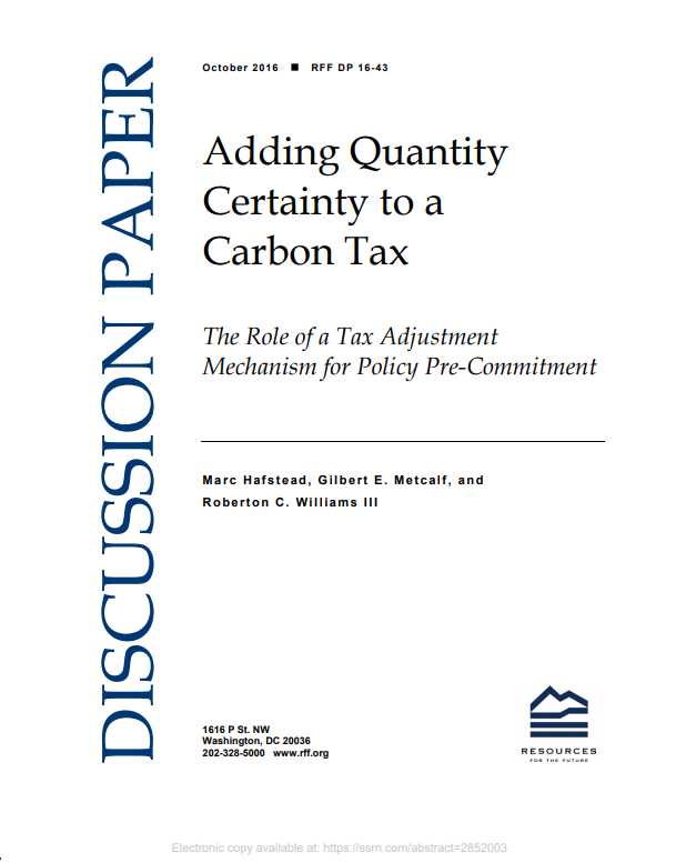 Adding Quantity Certainty to a Carbon Tax: The Role of a Tax Adjustment Mechanism for Policy Pre-Commitment