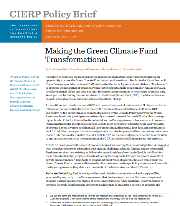 Making the Green Climate Fund Transformational