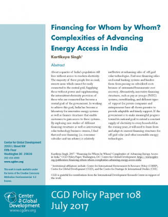 Financing for Whom by Whom? Complexities of Advancing Energy Access in India