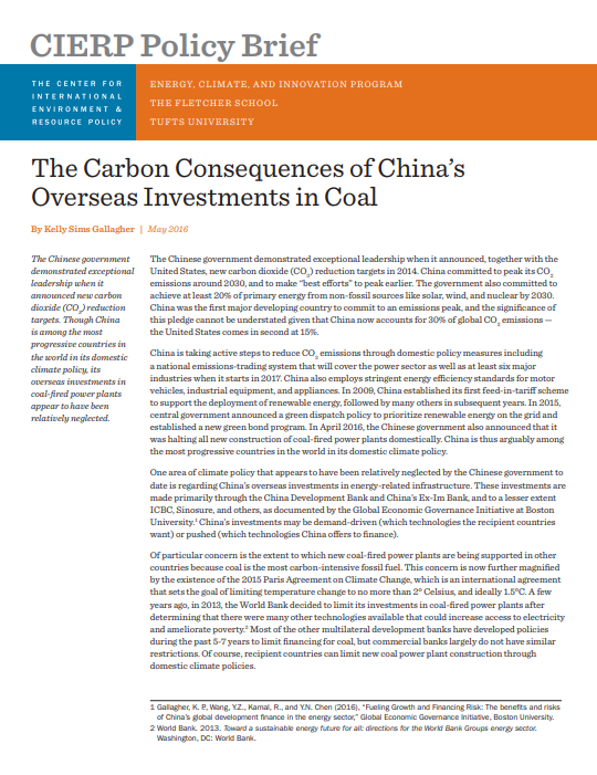 The Carbon Consequences of China's Overseas Investments in Coal