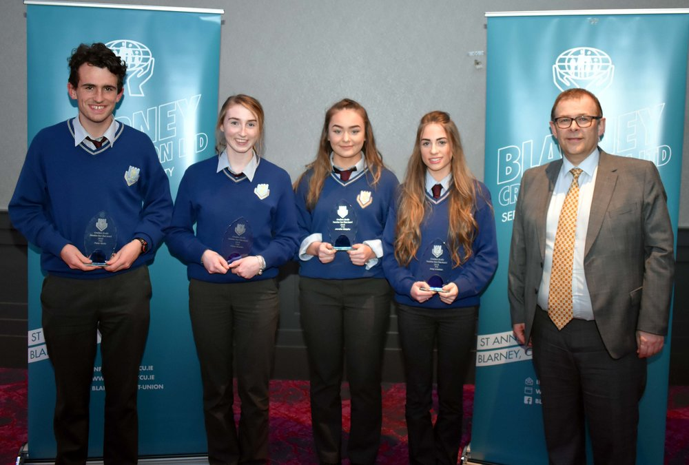 TY Class Award Winners: Peter Harte, Fiona Bourke, Jennifer Murphy, Amy Linehan, Eve Mullins (absent from photo) (Pictured with Mark McGloughlin - BOM and Blarney Credit Union)