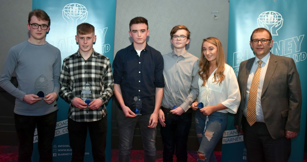 6th Year Class Award Winners: Joseph Linehan, Ryan Frayne- Duffy, Shane Carroll, Aaron Dorney, Sophie Williams. (Pictured with Mark McGloughlin - BOM and Blarney Credit Union)