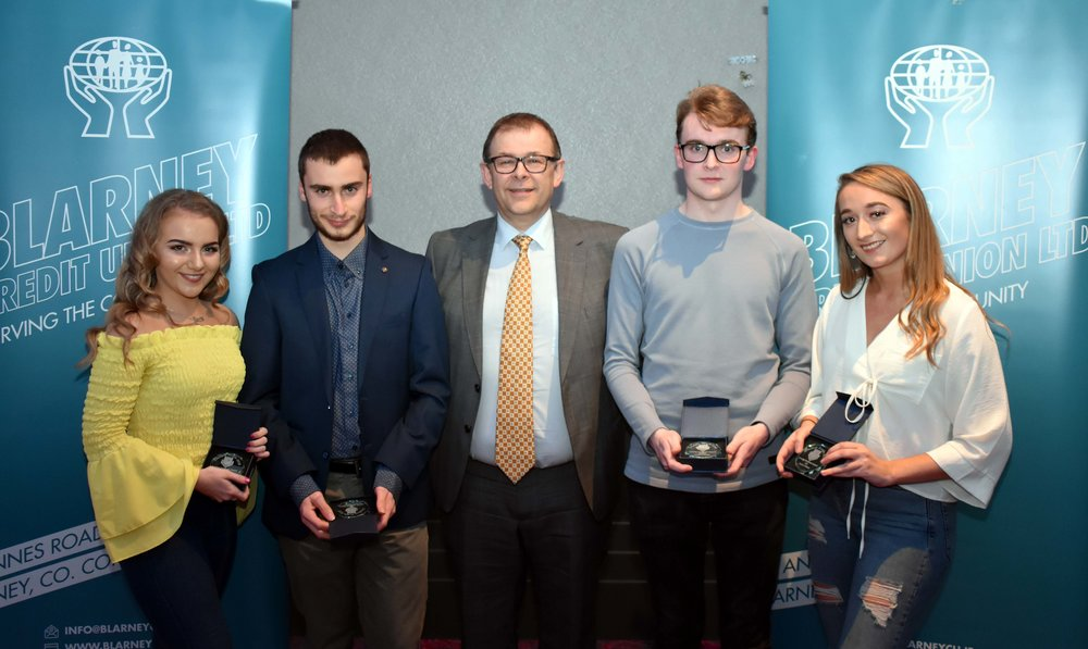 Senior Subject Award winners: Rachel Twohig (French), Alberto Casotti (Maths), Joseph Linehan (English) and Sophie Williams (Irish) (Pictured with Mr. Mark McGloughlin - BOM and Blarney Credit Union)