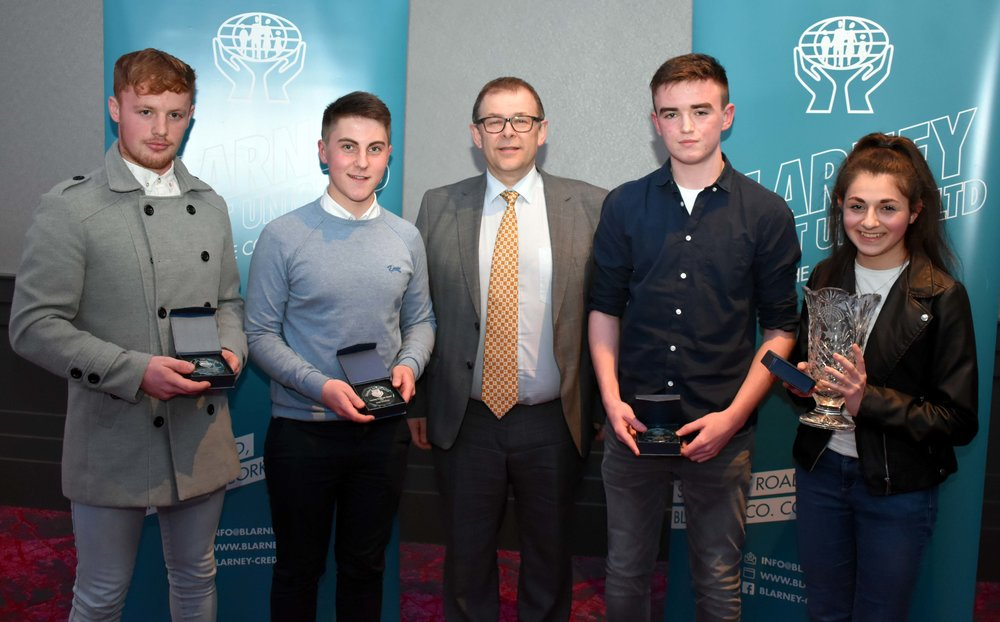 Senior Subject Award winners: Kevin Hyde (Construction Studies), Denis O' Sullivan (DCG), Shane Carroll (Engineering) Aurora Fortini (Music) (Pictured with Mr. Mark McGloughlin - BOM and Blarney Credit Union)