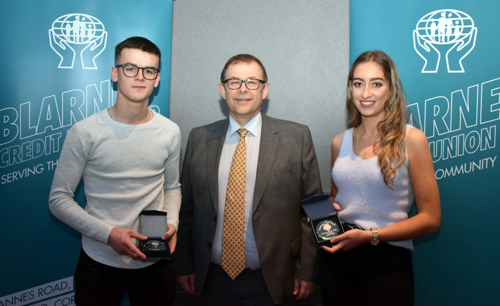 Senior Subject Award winners: Don O' Rourke (LCVP) and Aisling O' Reilly (Geography) (Pictured with Mr. Mark McGloughlin - BOM and Blarney Credit Union)