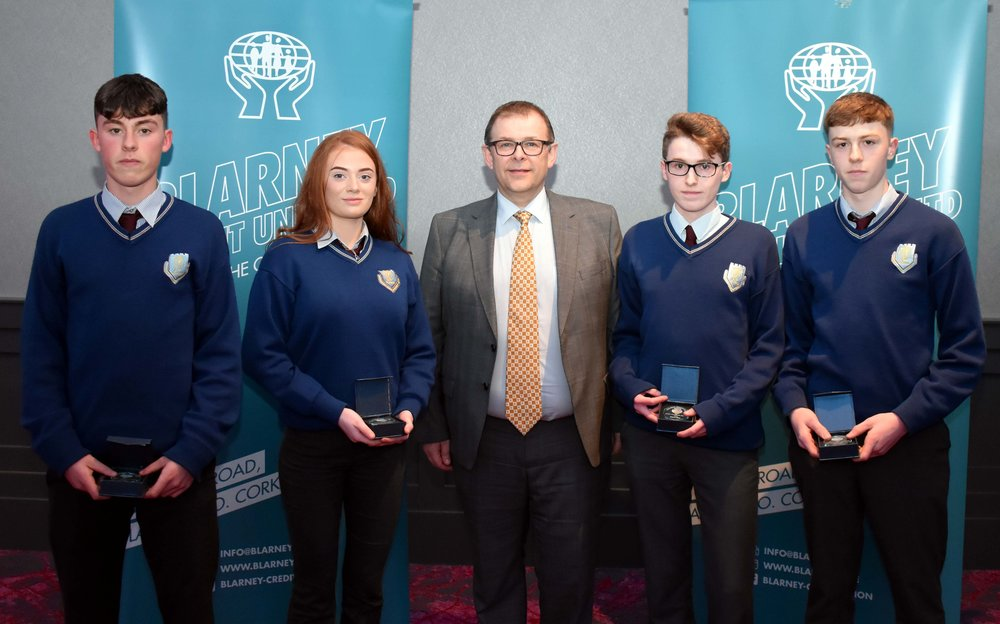 Junior Subject Award winners: Niall Cremin (German), Danielle Hendley (Home Economics), Emmet O' Shea (Art), Conor Joyce (Woodwork) (Pictured with Mr. Mark McGloughlin - BOM and Blarney Credit Union)