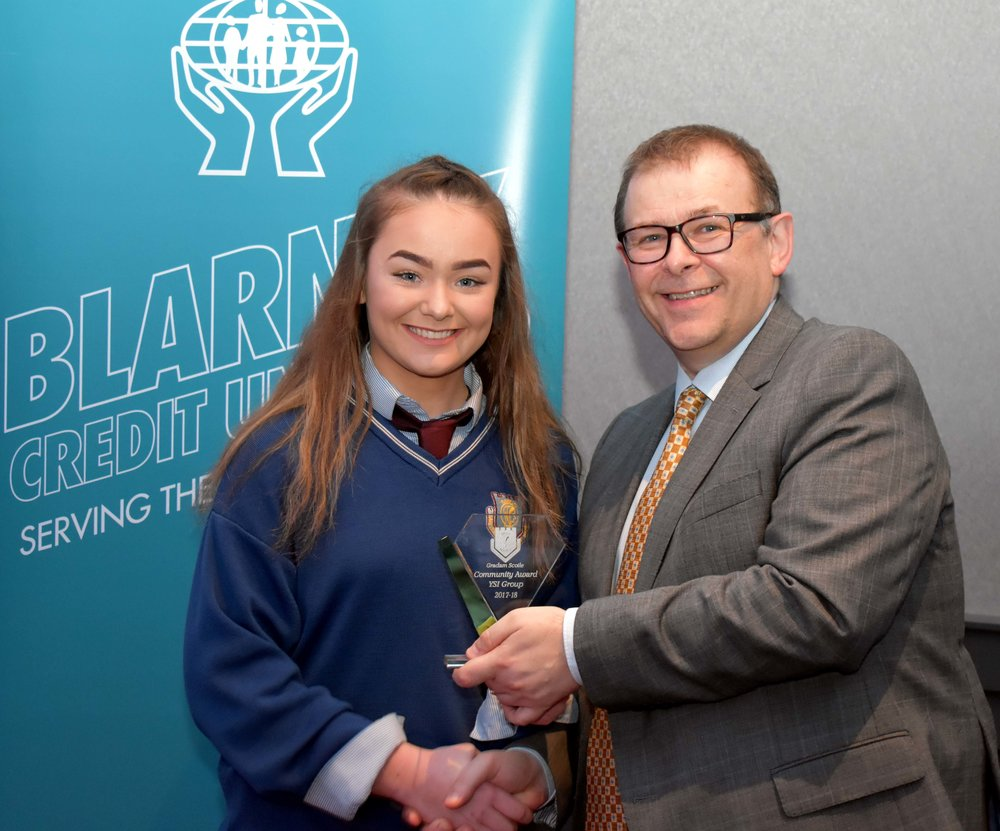 Community Award: YSI Group of 2017/2018 for their hard work and clear enthusiasm in organising 'Strictly come Dancing Over 60s' - Jennifer Murphy accepting on behalf of the group. (Pictured with Mr. Mark McGloughlin - BOM and Blarney Credit Union)