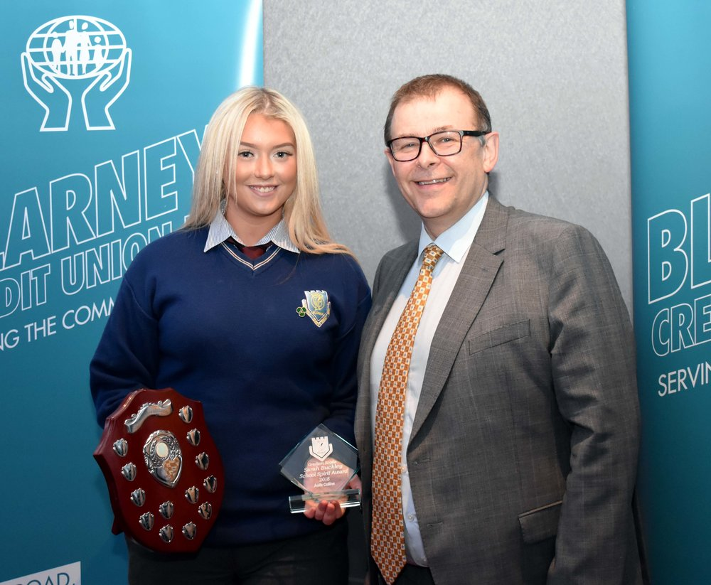 Sarah Buckley School Sports Spirit Award - Aoife Collins (Pictured with Mr. Mark McGloughlin - BOM and Blarney Credit Union)