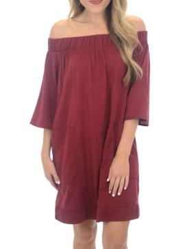 maroon off shoulder dress.PNG