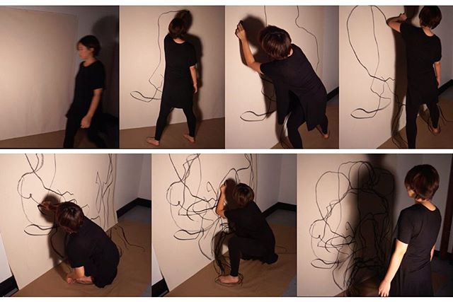 "Jinny Choi, ""Shadow"", 2016, Performance video still, (3:13), Raw canvas, and vine charcoal #FromTheHand #contemporaryart #exhibition #Welmont #painting #installation #mixedmedia #savannah #savannahevents #Art"